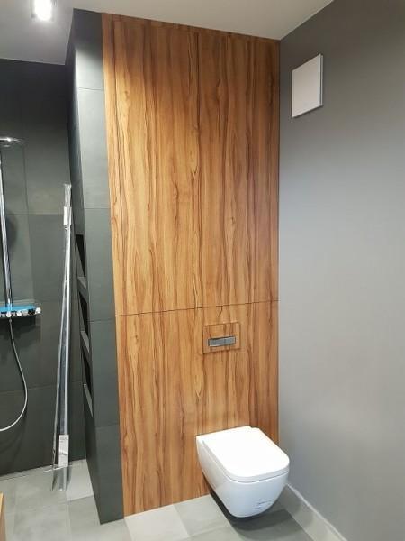 łazienka z wbudowanym sedesem do brązowej szafki